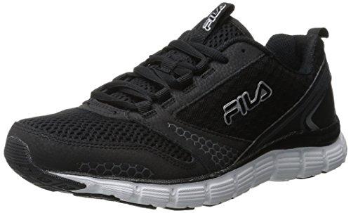 Fila Men's Memory Windstar Running Shoe, Black/Black/Metallic Silver, 11 M US (Fila Coolmax Memory Foam Men)