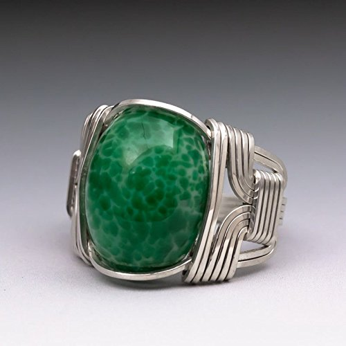 en Vintage Glass Cabochon Sterling Silver Wire Wrapped Ring 15 Heavy Wrap With Band (Heavy Jade Ring)