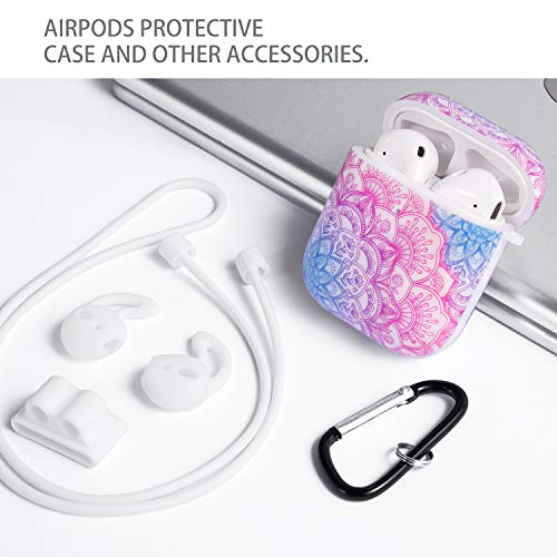 Cutebricase AirPods Case Silicone Protective Cover for Apple AirPods 2 & 1 with Keychain Compatible with Wireless Charging(Mandala)