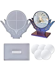 Makeup Mirror Resin Mould Set With Base Epoxy Casting Molds For Hand Shaped Table Top Cosmetic Mirror With Bracket Including 5 Pcs Of 4-Inch Shatterproof Lens For Photo Frame Or Home Decoration