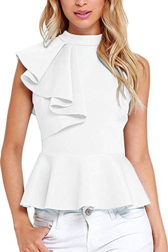 Dearlovers Women High Neck Solid Color Casual Top Vest Large White ()