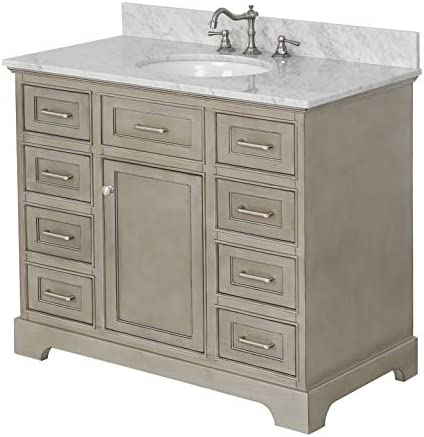 Aria 42-inch Bathroom Vanity Carrara Weathered Gray Includes a Weathered Gray Cabinet with Soft Close Drawers, Authentic Italian Carrara Marble Countertop, and White Ceramic Sink