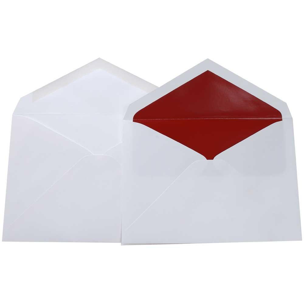 Red Lined White Envelopes- Pack of 50 Inner & Outer Envelopes ...