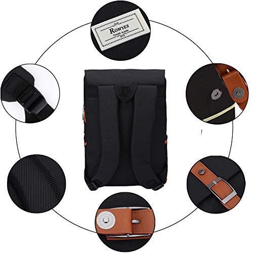 Ronyes Vintage Laptop Backpack College School Bag Bookbags for Women Men 15.6'' Laptop Casual Rucksack Water Resistant School Backpack Daypacks with USB Charging Port (Black)