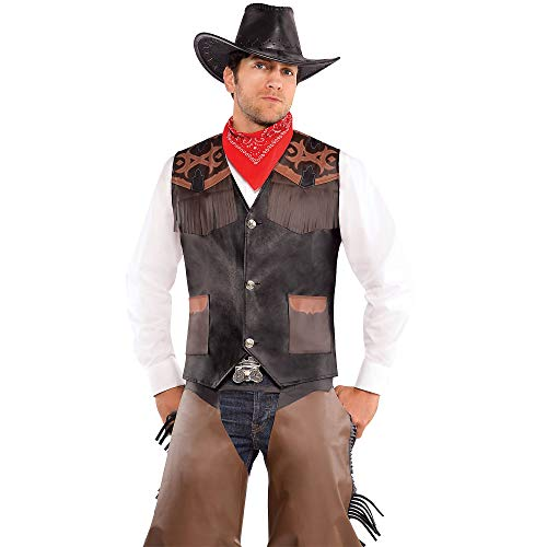 AMSCAN Cowboy Vest Deluxe Halloween Costume Accessory for Adults, One -