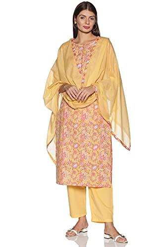 RAJMANDIRFABRICS Womens' Cotton Straight Printed Kurta Pant & Dupatta Set (PK1018019-XL, X- Large, Yellow)