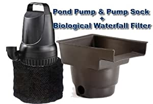 Pond pump 1200 gph and waterfall filter combo for Pond filter pump combo