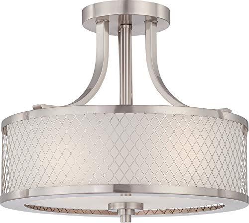 (Nuvo Lighting 60/4692 Three Light Semi Flush Mount, Pwt, Nckl, B/S, Slvr.)