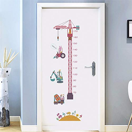 Yxjj1 Tower Crane Boys Room Wall Decorations Children Height Chart Stickers Bedroom Growth Stadiometers Decal Removable Cartoon Mural