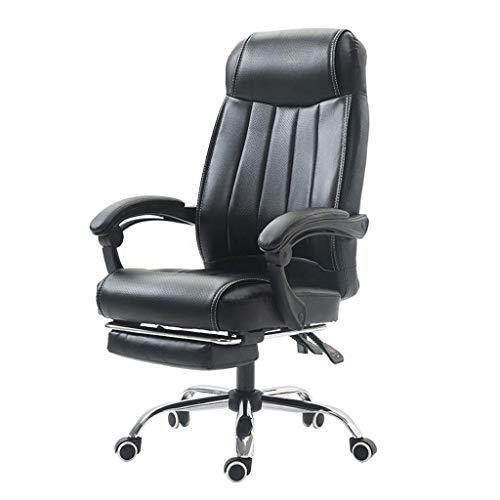 Ergonomicas de Oficina sillon reclinable, una Silla comoda giratoria con reposapies, Presidente de Juego Ajustable en Altura con reposabrazos y Ruedas, Negro Silla Gaming RVTYR (Color : Black)