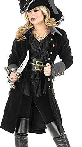 - Charades Women's Pirate Vixen Coat, Grey/Black, Medium