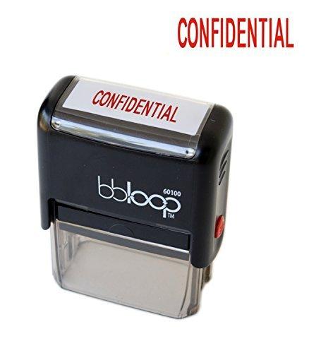 "BBloop Stamp ""CONFIDENTIAL"" Self-Inking, Rectangular. Laser Engraved. RED"