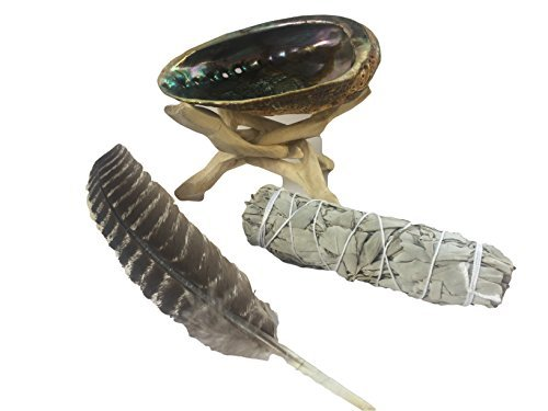 Plum Nellie Spiritual Smudging Kit with Abalone Shell, Wooden Tripod, White Sage Smudge Stick & Feather