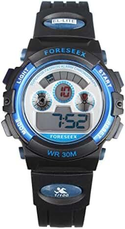 High Quality Kids Boys Girls 3ATM Waterproof Digital Chronograph Outdoor Sport Watch (Blue)