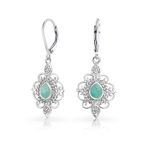 Vintage Style Filigree Teardrop Stabilized Turquoise Leverback Dangle Earrings For Women 925 Sterling Silver