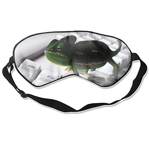 Sleep Mask, Keyboards Chameleons Silk Lightweight Breathable Comfortable Soft Eyeshade with Adjustable Head Straps for Women