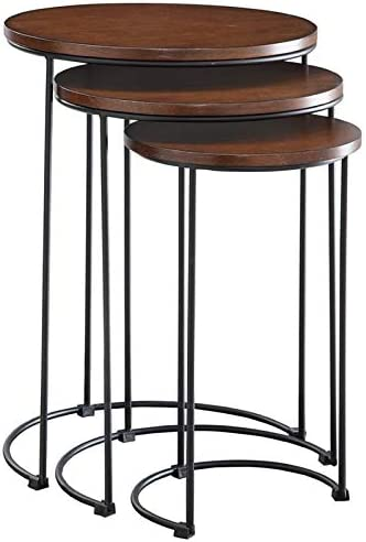 Carolina Classic Evan 3 Piece Nesting End Table Set in Chestnut