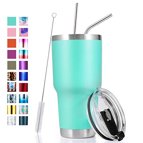 30oz Stainless Steel Insulated Teal Tumbler Travel Mug with Straw Slider Lid, Cleaning Brush, Double Wall Vacuum