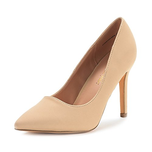 Dream Pairs Women's Christian-New Nude Nubuck High Heel Pump Shoes - 9 M - Nude Women New