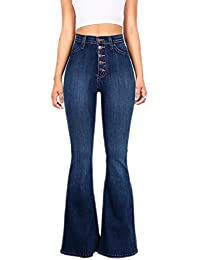pujingge-CA Women's Bell Bottom High Waisted Fitted Flared Denim Pant