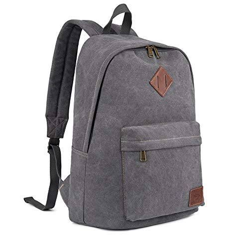 Canvas School Laptop Backpack, Durable Rucksack, Travel Notebook Bag, for Men Women (Gray)
