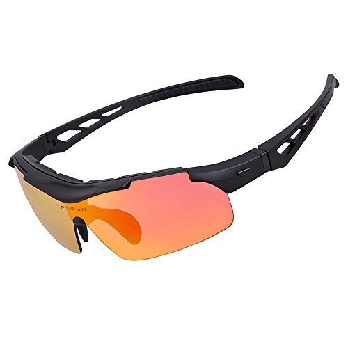 Polarized Sports Sunglasses For Men Women Cycling Glasses With 5 Interchangeable Lenes Running Driving Fishing Golf Baseball Outdoor Sports (Black, 5 - Running Uk Sunglasses