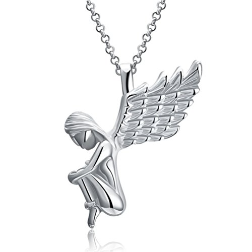 Christmas Gifts for Girls Women's 18K Gold Plated Cute Christmas Angel Wings Drop Pendant Necklaces 18'' - White