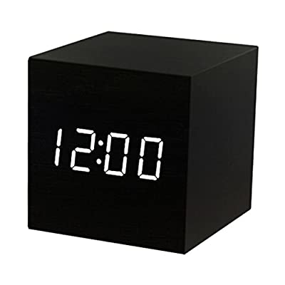 T&F Digital Alarm Clock Wooden LED Light Multifunctional Modern Cube Displays Date Temperature for Home Office Travel - MULTI-FUNCTIONAL: displays date, time (12/24) and temperature (F & C); LED light control by voice; 3 alarm setting; easy to set and program COMPACT SIZE: small wood alarm clock can be used as desk clock in office, bedroom, living room etc.; also a portable travel clock for it can run with battery or AC power INNOVATIVE DESIGN : a natural decoration; sleek and minimalist wood cube with large LED screen, clear and bright to read, makes your room looks like 22nd century - clocks, bedroom-decor, bedroom - 41oYA1U7rnL. SS400  -