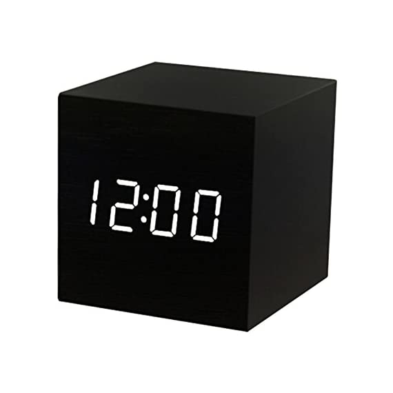 T&F Wood Alarm Clock Digital LED Light Minimalist Mini Cube with Date and Temperature for Travel Kids Bedroom - MULTI-FUNCTIONAL: displays date, time (12/24) and temperature (F & C); LED light control by voice; 3 alarm setting; easy to set and program COMPACT SIZE: small wood alarm clock can be used as desk clock in office, bedroom, living room etc.; also a portable travel clock for it can run with battery or AC power INNOVATIVE DESIGN : a natural decoration; sleek and minimalist wood cube with large LED screen, clear and bright to read, makes your room looks like 22nd century - clocks, bedroom-decor, bedroom - 41oYA1U7rnL. SS570  -