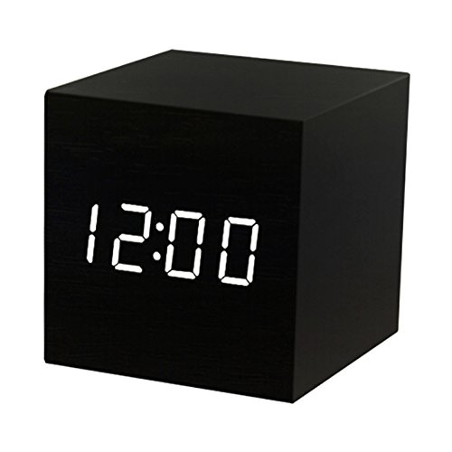 41oYA1U7rnL - Digital Alarm Clock Wooden LED Light Multifunctional Modern Cube Displays Date Temperature for Home Office Travel