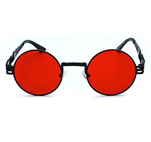 conducción hippy Negro de metal gafas redondo Gafas sol de Steampunk Rojo retro marco de qnPpUxR