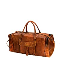 "Handmadecraft ""Byto"" Vintage Genuine Leather Hold all Travel Bag Brown"
