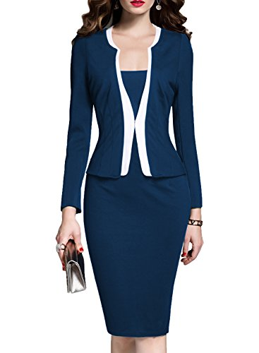 Ladies Suit (MUSHARE Women's Colorblock Wear to Work Business Party Bodycon One-Piece Dress (Medium, Navy Blue))
