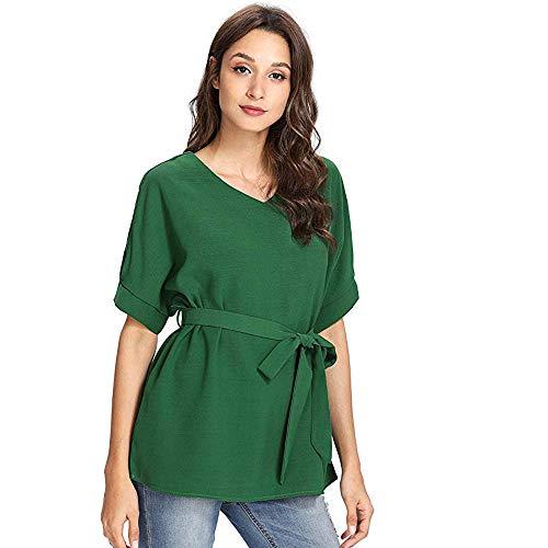 ♡QueenBB♡ Women's V Neckline Self Tie Short Sleeve Blouse Tops Solid Color Loose T-Shirt