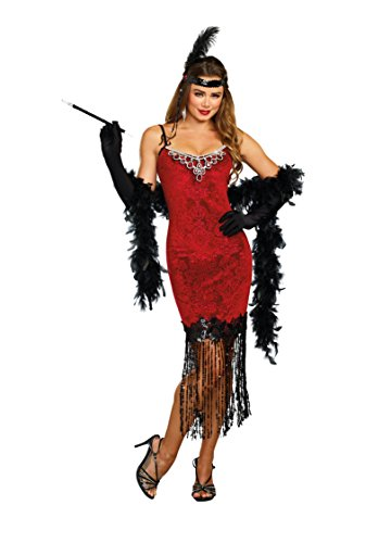 1920's Couples Halloween Costumes (Dreamgirl Women's 1920's Ruby Red Beaded Velvet Flapper Costume Dress,)