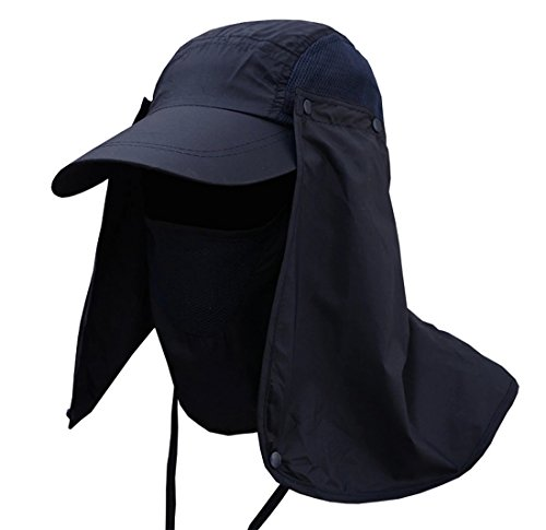 JITTY Sun Cap UV Protection Removable Neck & Face Flap Cover Caps for Summer Outdoor Hiking Fishing Gardening Hunting Camping (Navy)