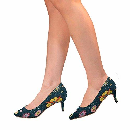 InterestPrint Womens Low Kitten Heel Pointed Toe Dress Pump Shoes Floral Print Multi 1 DTD6y4G