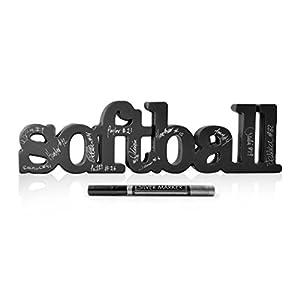 ChalkTalkSPORTS Softball Wood Words Ready to Autograph | Softball Sign & Decor
