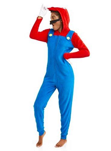 Mario Suit (Super Mario Womens Faux Fur Licensed Sleepwear Adult Costume Union Suit Pajama (XS-3X) Mario Small)