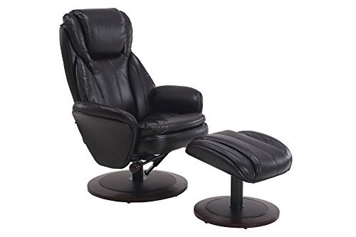 Mac Motion Comfort Chair Norway Recliner and Ottoman in Blac