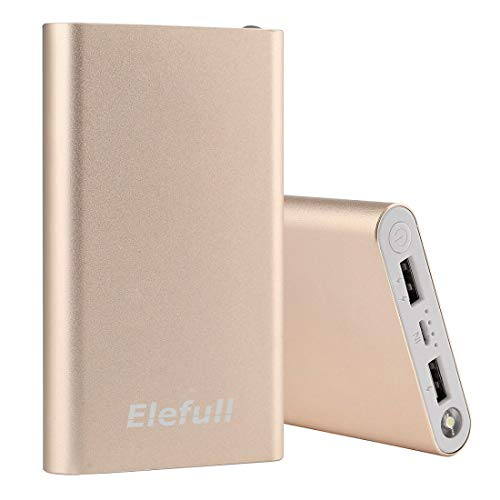 portable charger power bank 10000mAh with Flashliight Quick Charge Safe Metal Case Small Size Smart Phone iPhone iPad Samsung LG (Gold)
