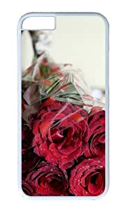 MOKSHOP Adorable bouquet roses romantic Hard Case Protective Shell Cell Phone Cover For Apple Iphone 6 (4.7 Inch) - PC White