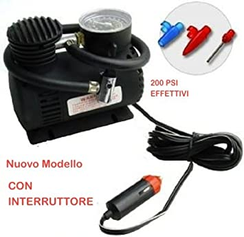 MINI Compresor de Aire 12 V, 300 PSI (30 press) Modelo HOBBY: Para Moto,Coche, Caravana, Gommoni, Balones, etc.: Amazon.es: Electrónica