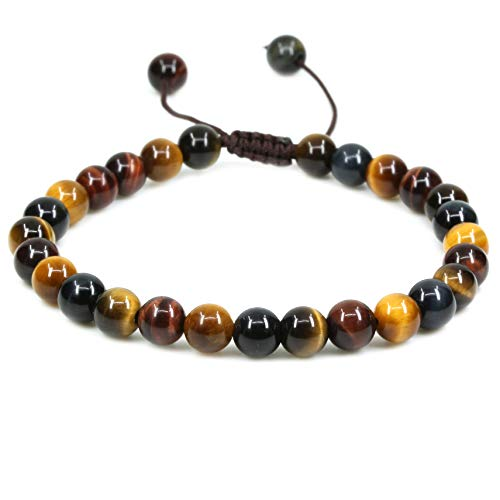 (Natural AA Grade Multicolor Tiger Eye Gemstone 6mm Round Beads Adjustable Bracelet 7