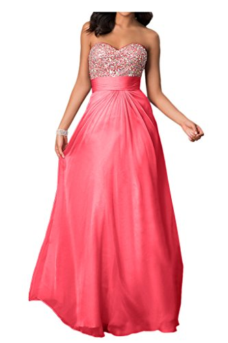 Chiffon Peach Strapless Pink Empire Sweetheart with Prom Angel Dress Beaded Bride Bust Oq5vS
