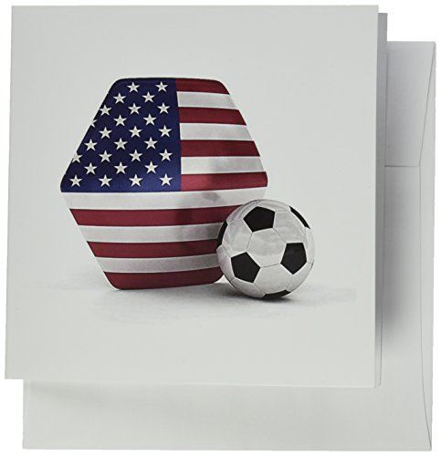 3dRose USA Soccer Ball - Greeting Cards, 6 x 6 inches, set of 12 (gc_181919_2) ()