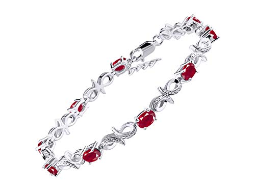 Stunning Ruby & Diamond Infinity Tennis Bracelet Set in Sterling Silver - Adjustable to fit 7