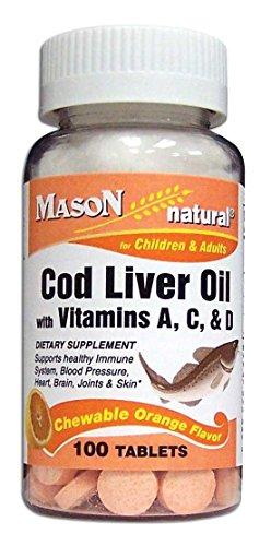 Mason Vitamins Cod Liver Oil With Vitamin A, C & D Orange Flavor Chewable Tablets, 100 Count Bottle