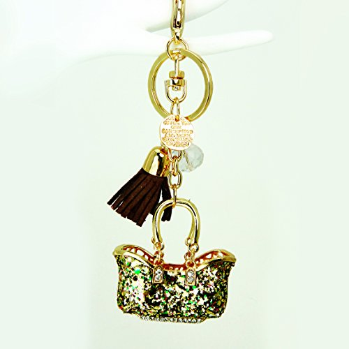 Sparkling Golden Tote Bag with Tassel Key Chain / Purse Charm