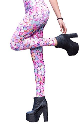 GuPoBoU168 Women's Fashion Digital Heart Candy Sugar Pattern Stretch Leggings